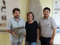 Découverte chaudron Mongolie - From left to right : Jérôme Magail, Director of the joint Monaco-Mongolia archaeological expedition, anthropologist and Director of the Museum of Prehistoric Anthropology in Monaco, Elisabeth Gramaglia Gondeau, Mongolia's Honorary Consul to Monaco and Jamyian-Ombo Gantulga, Head of the Institute of Archaeology of the Mongolian Academy of Sciences
