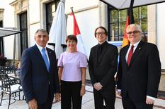 Réception Berlin 2018 - From left to right: Mr Bernard Amadei; H.E. Ms Isabelle Berro-Amadei, Ambassador of Monaco to Germany; Benjamin Labarrere, Advisor to the Ambassador; Lorenzo Ravano, Chief Advisor to the Ambassador © DR