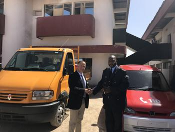 Remise officielle de véhicule et matériel ©  DCI - Official handover of vehicles and equipment by Colonel Varo, Chief of Monaco Fire and Emergency Service to Lieutenant-Colonel Cissoko, Acting Director of the DGPC ©DCI