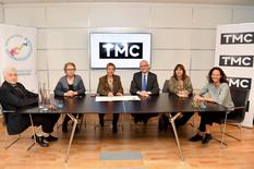 TMC PNTE - From left to right: Etienne Franzi, Vice-President of TMC, Catherine Puiseux, CSR Director for TF1 Group, Céline Nallet, CEO of the TNT channels (TMC, TFX and TF1 Séries Films) at TF1 Group, H.E. the Minister of State, Marie-Pierre Gramaglia, Minister of Public Works, the Environment and Urban Development, and Annabelle Jaeger-Seydoux, Director of the Mission for Energy Transition. ©Direction de la Communication / Manuel Vitali