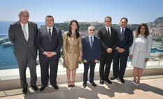 VO Egypte - From left to right: Mr Henri Fissore, President of the Board of Directors for the Grimaldi Forum Monaco; Mr Ossama Heikal, Member of Parliament and Chair of the Parliamentary Committee for Antiquities, Culture and Information; H.E. Ms Rania Al-Mashat, Minister of Tourism; Mr Patrice Cellario, Minister of the Interior; H.E. Mr Khaled El-Anany, Minister of Antiquities; H.E. Mr Ehab Badawy, Ambassador of Egypt to Monaco; Ms Sahar Talaat Mostafa, Member of Parliament and Chair of the Parliamentary Committee for Tourism and Aviation.© Government Communication Department / Michael Alési